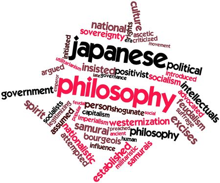 advocated: Abstract word cloud for Japanese philosophy with related tags and terms