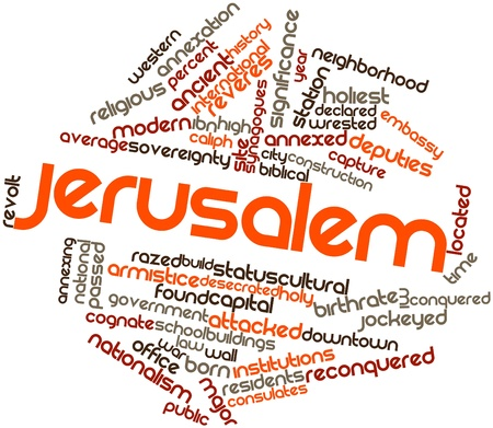 desecrated: Abstract word cloud for Jerusalem with related tags and terms