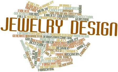 fabrication: Abstract word cloud for Jewelry design with related tags and terms