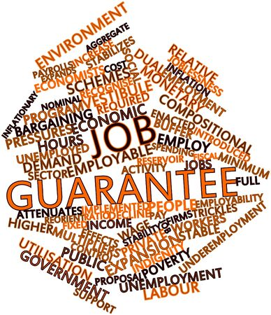 malaise: Abstract word cloud for Job guarantee with related tags and terms