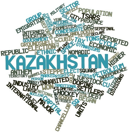 nomadic: Abstract word cloud for Kazakhstan with related tags and terms