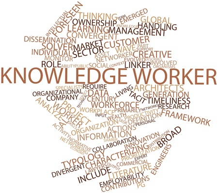 Abstract word cloud for Knowledge worker with related tags and terms photo