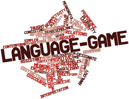 analogous: Abstract word cloud for Language-game with related tags and terms Stock Photo