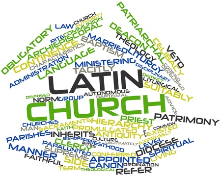 Abstract word cloud for Latin Church with related tags and terms