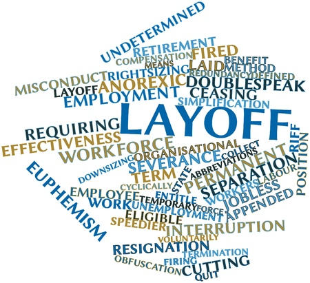 riff: Abstract word cloud for Layoff with related tags and terms