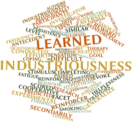 Abstract word cloud for Learned industriousness with related tags and terms