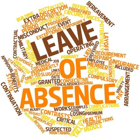 Permanent: Abstract woordwolk voor verlof met gerelateerde tags en voorwaarden