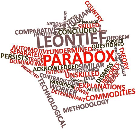 Abstract word cloud for Leontief paradox with related tags and terms Stock Photo - 17197462