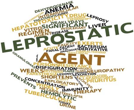 lepra: Nube palabra abstracta por agente Leprostatic con etiquetas y términos relacionados Foto de archivo