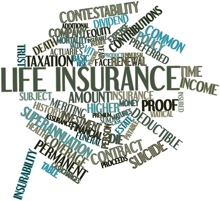 Abstract word cloud for Life insurance with related tags and terms Stock Photo - 17197735