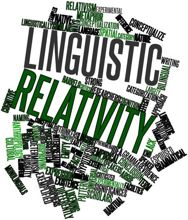 experimentally: Abstract word cloud for Linguistic relativity with related tags and terms Stock Photo