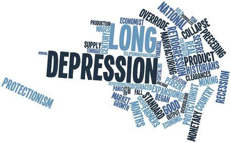 eingeschifft: Abstrakte Wortwolke f�r Long Depression mit verwandten Tags und Begriffe
