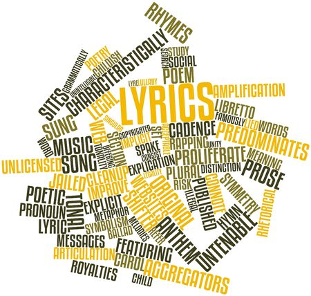 lyrics: Abstract word cloud for Lyrics with related tags and terms