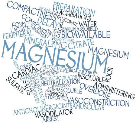 関連するタグと用語とマグネシウムの抽象的な単語雲