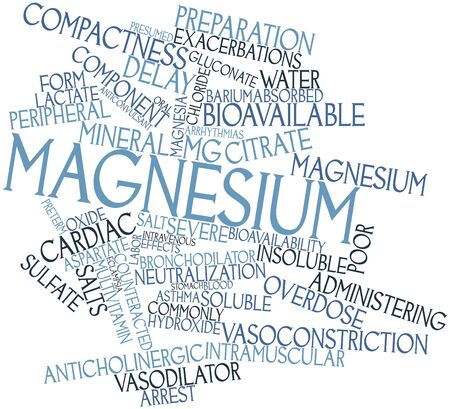 insoluble: Abstract word cloud for Magnesium with related tags and terms Stock Photo