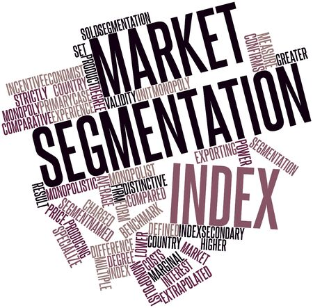 confirms: Abstract word cloud for Market segmentation index with related tags and terms