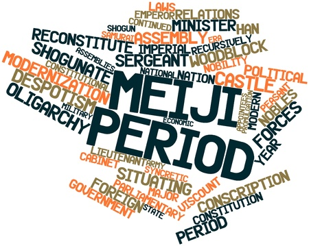 period: Abstract word cloud for Meiji period with related tags and terms