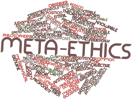 epistemological: Abstract word cloud for Meta-ethics with related tags and terms Stock Photo