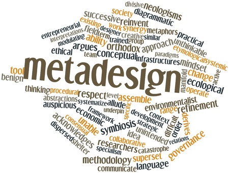 practical: Abstract word cloud for Metadesign with related tags and terms Stock Photo