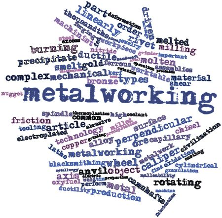 workpiece: Abstract word cloud for Metalworking with related tags and terms Stock Photo
