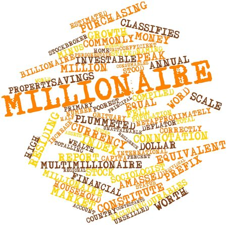 Abstract word cloud for Millionaire with related tags and terms Banco de Imagens