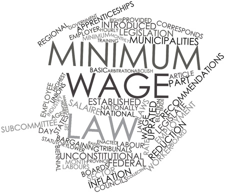 established: Abstract word cloud for Minimum wage law with related tags and terms Stock Photo