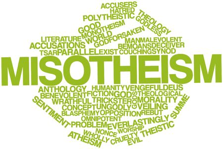 humanism: Abstract word cloud for Misotheism with related tags and terms Stock Photo