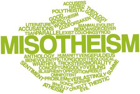 humanismo: Nube palabra abstracta para Misotheism con etiquetas y términos relacionados