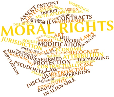 defamation: Abstract word cloud for Moral rights with related tags and terms
