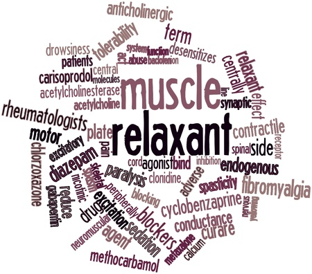 endogenous: Abstract word cloud for Muscle relaxant with related tags and terms Stock Photo