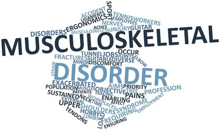 Nube palabra abstracta para el trastorno musculoesquelético con etiquetas y términos relacionados Foto de archivo - 17196341