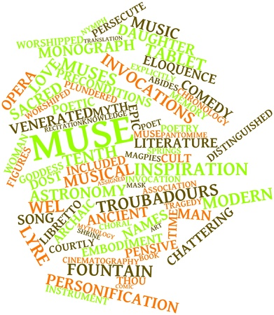 worshipped: Abstract word cloud for Muse with related tags and terms Stock Photo