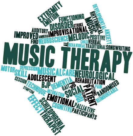 Abstract word cloud for Music therapy with related tags and terms