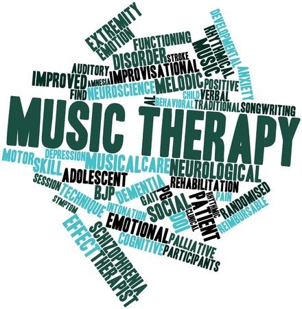 musicoterapia: Word cloud astratto per la terapia di musica con tag correlati e termini Archivio Fotografico