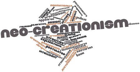 profesar: Nube palabra abstracta para Neo-creacionismo con etiquetas y t�rminos relacionados Foto de archivo