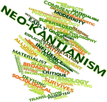 epistemology: Abstract word cloud for Neo-Kantianism with related tags and terms Stock Photo