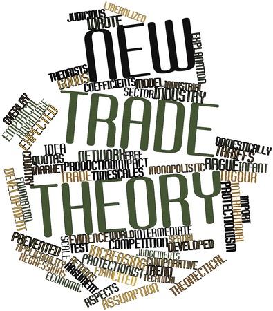 arbitrario: Nube palabra abstracta para la teoría del comercio Nuevo con las etiquetas y términos relacionados