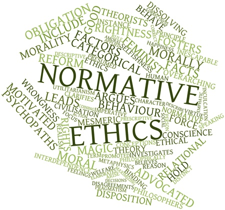 Abstract word cloud for Normative ethics with related tags and terms Stock Photo