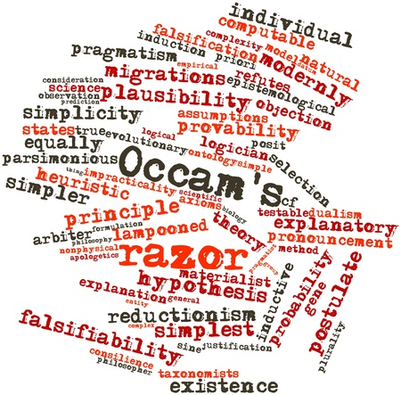 explanatory: Abstract word cloud for Occams razor with related tags and terms Stock Photo