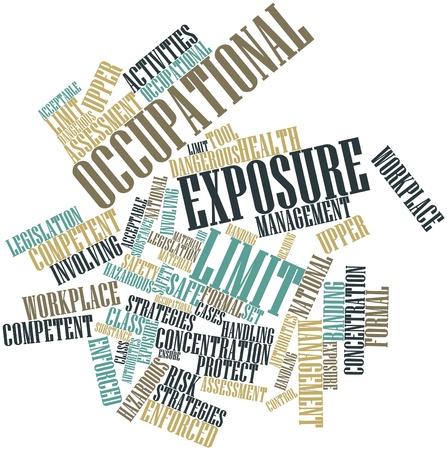 autoridades: Nube palabra abstracta para el l�mite de exposici�n profesional con etiquetas y t�rminos relacionados