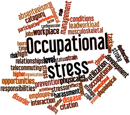 arises: Abstract word cloud for Occupational stress with related tags and terms
