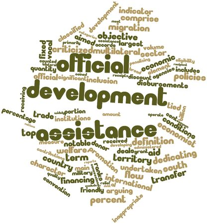 exclude: Abstract word cloud for Official development assistance with related tags and terms Stock Photo