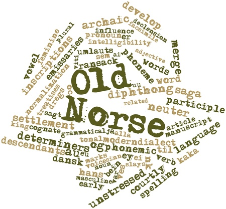 cognate: Abstract word cloud for Old Norse with related tags and terms Stock Photo