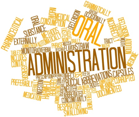Abstract word cloud for Oral administration with related tags and terms