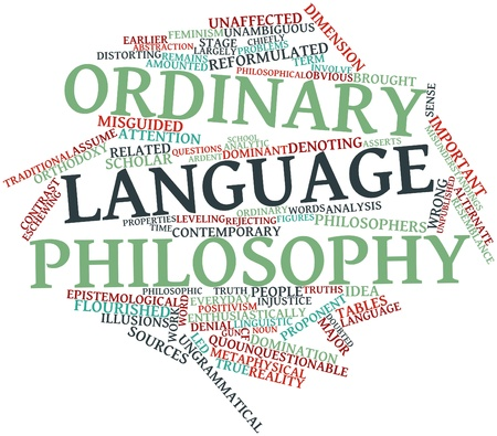 corresponds: Abstract word cloud for Ordinary language philosophy with related tags and terms Stock Photo