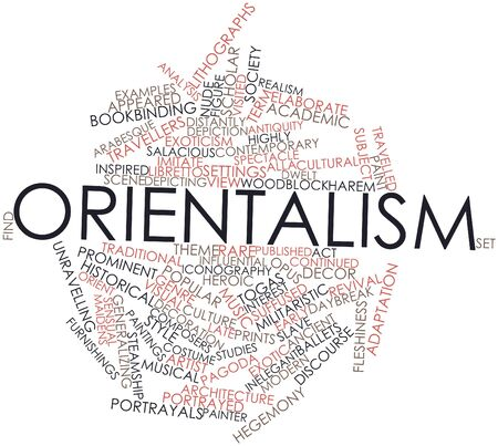 bookbinding: Abstract word cloud for Orientalism with related tags and terms Stock Photo