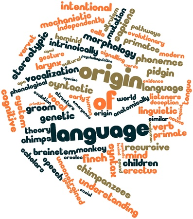 Abstract word cloud for Origin of language with related tags and terms