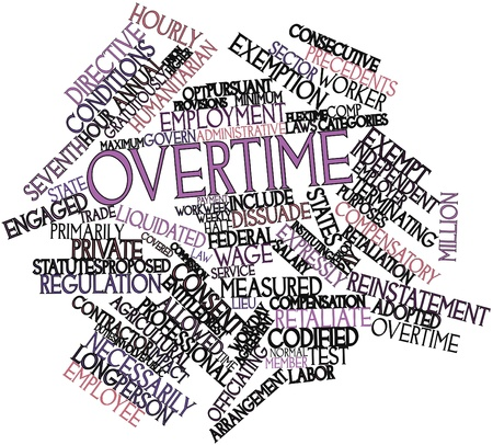 terminating: Abstract word cloud for Overtime with related tags and terms Stock Photo