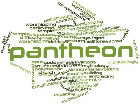 monotheism: Abstract word cloud for Pantheon with related tags and terms