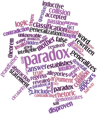 falsely: Abstract word cloud for Paradox with related tags and terms Stock Photo